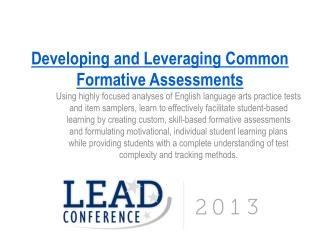 Developing and Leveraging Common Formative Assessments