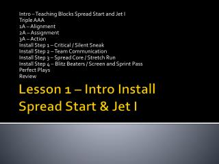 Lesson 1 – Intro Install Spread Start & Jet I