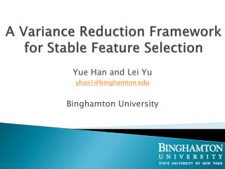 A Variance Reduction Framework for Stable Feature Selection