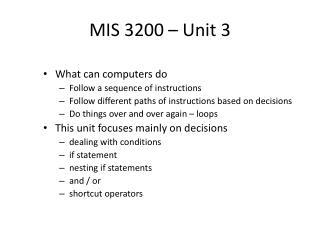 MIS 3200  � Unit 3