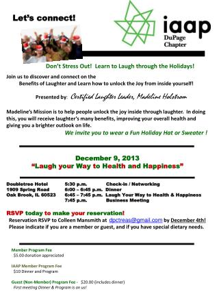 Don't Stress Out!  Learn to Laugh through the Holidays!