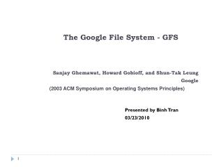 The Google File  System - GFS