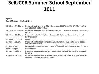 SeIUCCR  Summer School September 2011