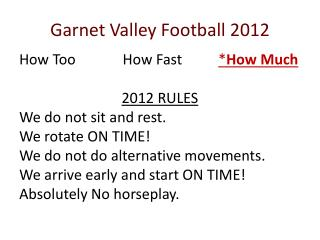 Garnet Valley Football 2012