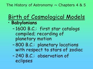 Birth of Cosmological Models
