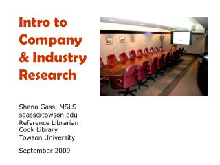 Intro  to Company  & Industry Research
