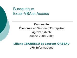 Bureautique Excel-VBA et Access