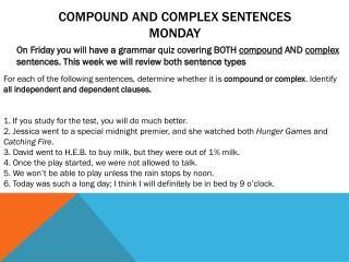 Compound and Complex Sentences Monday