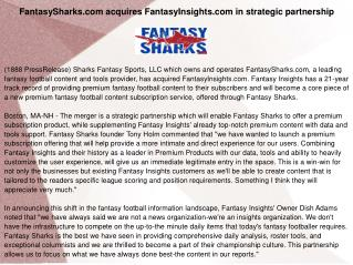 FantasySharks.com acquires FantasyInsights.com