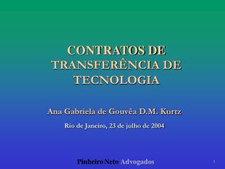 CONTRATOS DE  TRANSFER NCIA DE  TECNOLOGIA