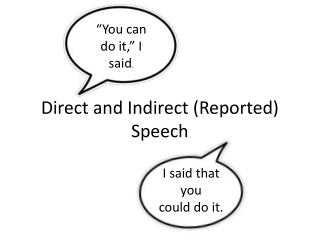 Direct and  Indirect (Reported)  Speech