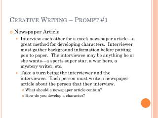 Creative Writing – Prompt #1