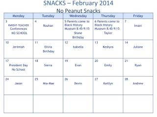 SNACKS  – February 2014 No Peanut Snacks