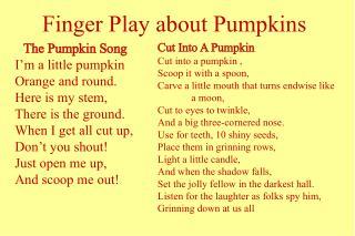 Finger Play about Pumpkins