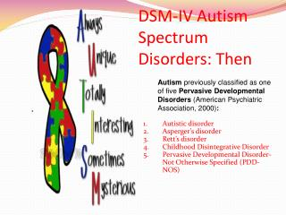 DSM-IV Autism Spectrum Disorders: Then