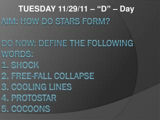 """TUESDAY 11/29/11 – """"D"""" – Day"""
