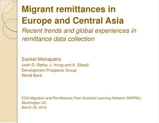 Migrant remittances in Europe and Central Asia