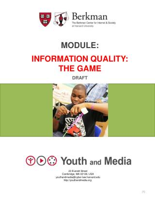 Module: Information quality: The game Draft