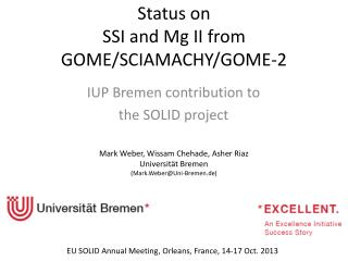 Status on  SSI  and  Mg II  from GOME/SCIAMACHY/GOME-2