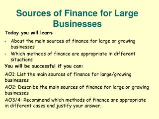 Sources of Finance for Large Businesses