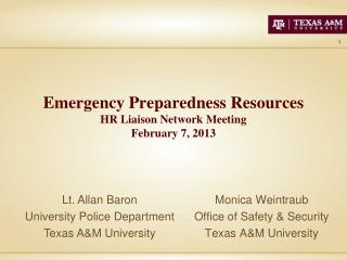 Emergency Preparedness Resources HR Liaison Network  Meeting February 7, 2013