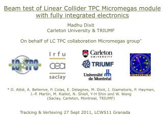 Beam test of Linear Collider TPC Micromegas  module  with fully integrated electronics