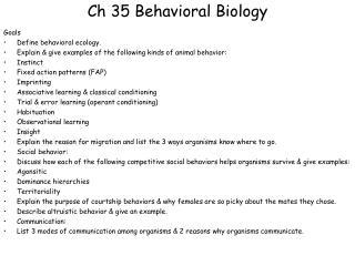 Ch  35  Behavioral Biology
