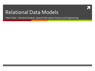 Relational Data Models