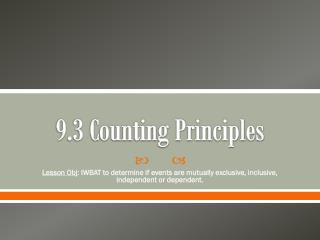9.3 Counting Principles