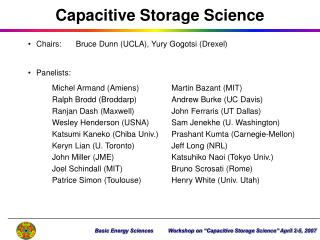 Capacitive Storage Science