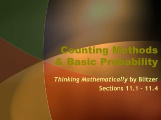 Counting Methods  & Basic Probability