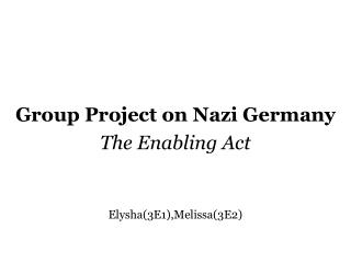 Group Project on Nazi Germany