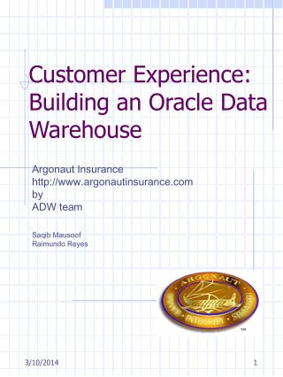 Customer Experience: Building an Oracle Data Warehouse