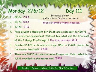 Monday,  2/6/12 Day 111