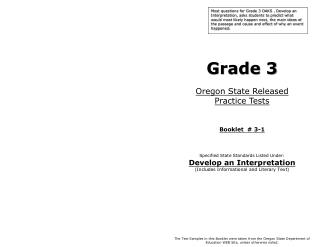 Grade 3 Oregon State Released  Practice Tests Booklet  #  3-1