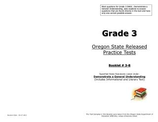 Grade 3 Oregon State Released  Practice Tests Booklet # 3-8