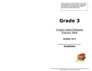 Grade 3 Oregon State Released  Practice Tests Booklet  #3-4