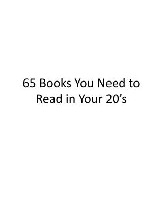 65 Books You Need to Read in Your 20's