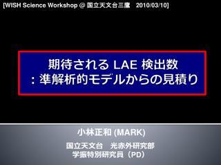 期待される  LAE  検出数 :準解析的モデルからの見積り