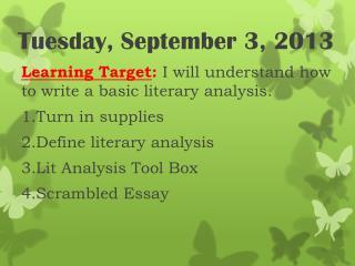 Tuesday,  September 3,  2013