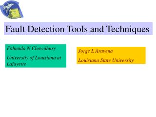 Fault Detection Tools and Techniques