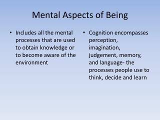 Mental Aspects of Being