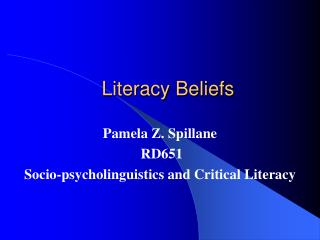 Literacy Beliefs