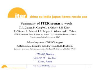 Summary of ITER scenario work
