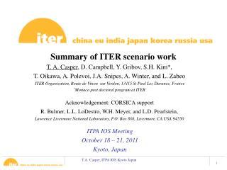 Summary of ITER scenario work