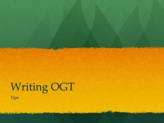 Writing OGT