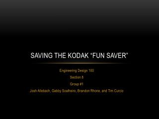 "Saving the Kodak ""fun saver"""
