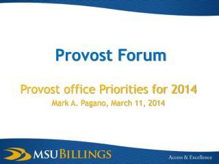Provost Forum