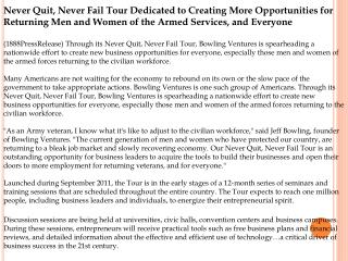 Never Quit, Never Fail Tour Dedicated to Creating More Oppor