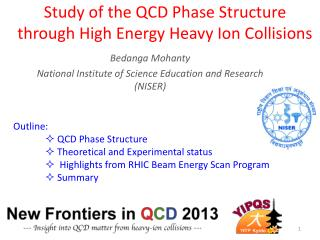 Study of the QCD Phase Structure through High Energy Heavy Ion Collisions